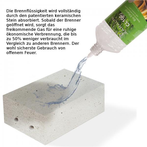 Cadiz Corner Bioethanol Kamin Naturstein Weiß